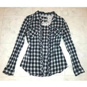 Women's Black and White Plaid Button Up Shirt